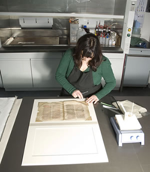 Image showing conservator preparing record for exhibition