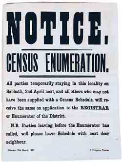 Image of a census notice, Dunoon, 31 March 1871