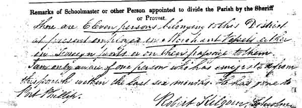 Image of part of a page from the 1841 census for Elie in Fife