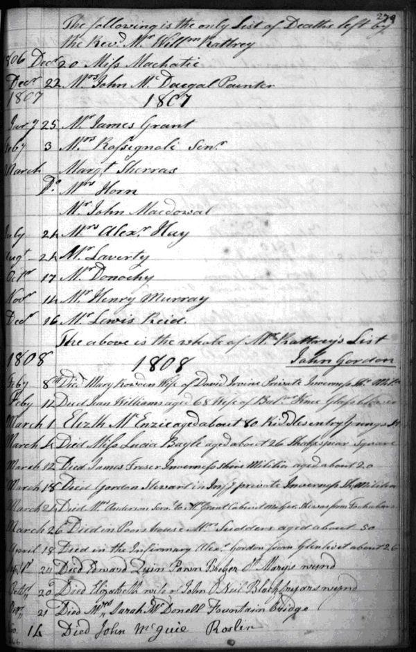 Example from a register of deaths