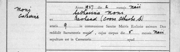 An example of a death entry in Latin