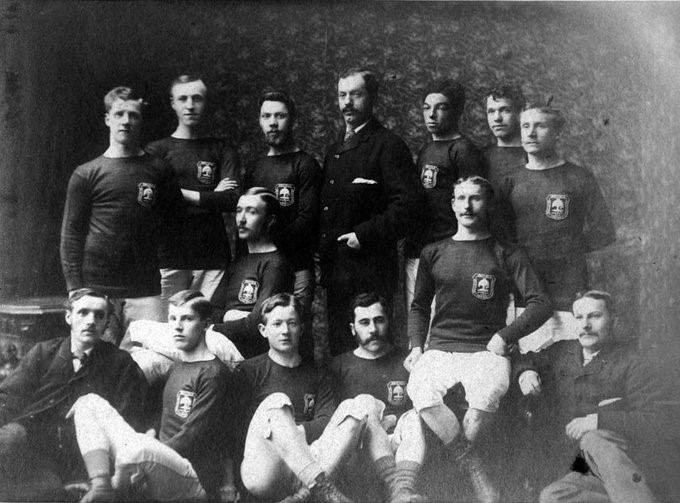 Andrew Watson, back row, third from right with the Glasgow Select Team in 1880. Image credit: Scottish Football Museum collection