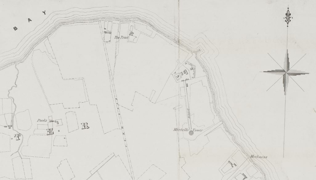 Detail of plan showing location of Hackness Martello tower and battery. 'Plan of the Crown Lands in the parish of Walls, Orkney. Plan No 2 Kirbuster and Osmondwall'. Unattributed. Lithographed by D and D Nimmo, Edinburgh. 1870 National Records of Scotland RHP1703