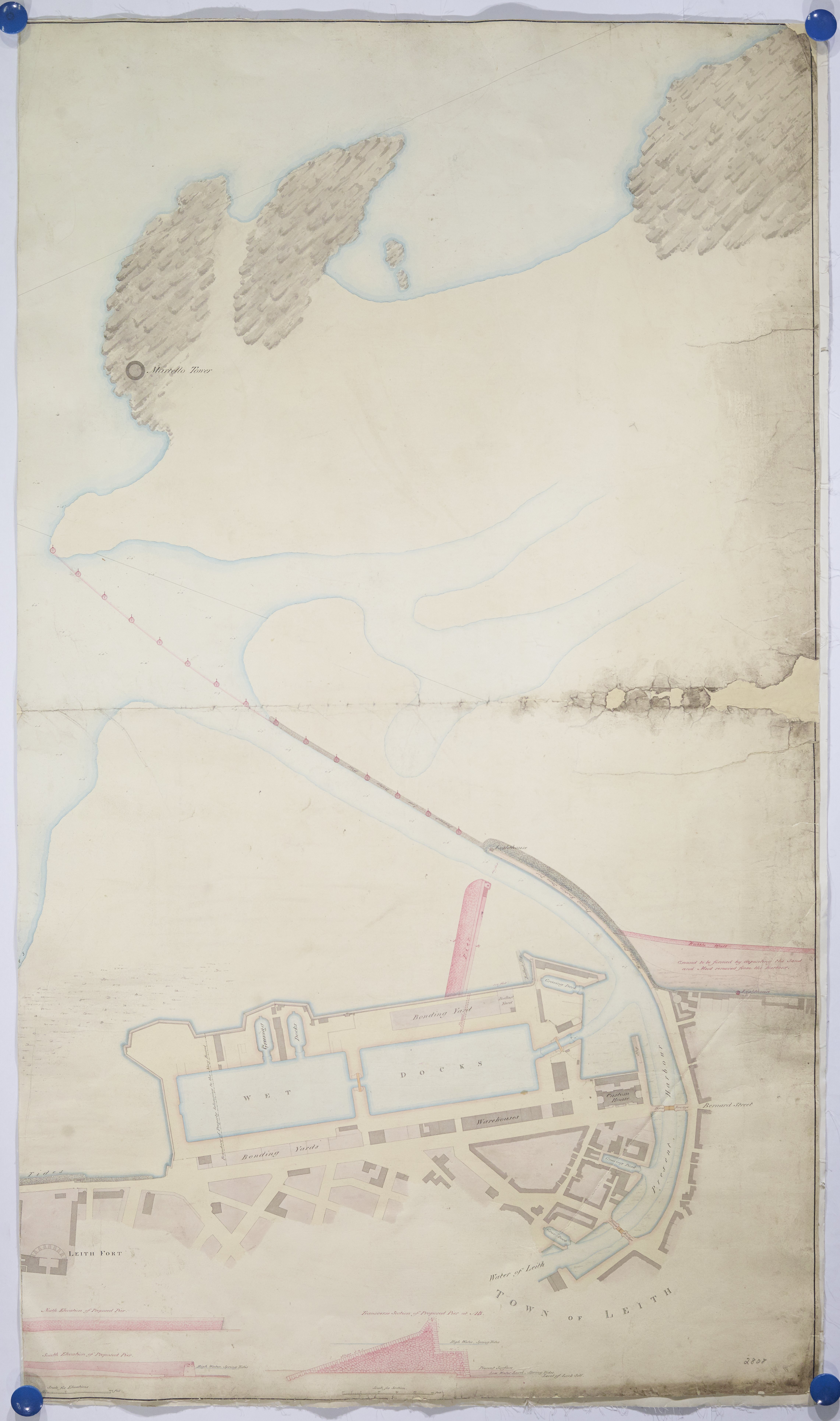 "Plan of the harbour of Leith ""in its present state showing the proposed pier and other improvements"": Crown copyright. National Records of Scotland, RHP2808"