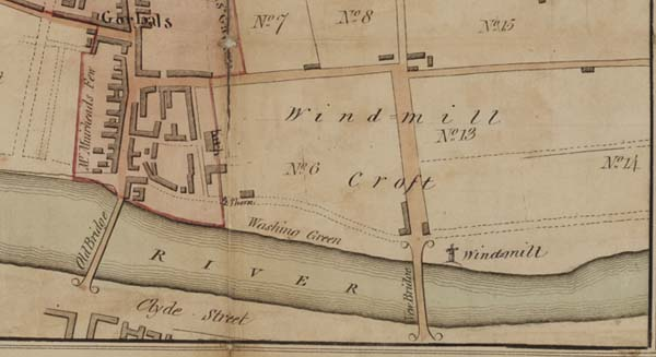 An example of a plan depicting a windmill. Shown here is a detail of the village and parish of Gorbals by Thomas Richardson, 1803. National Records of Scotland, Crown copyright, RHP44858