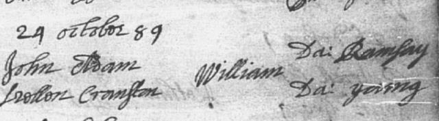 Baptism entry for William Adam