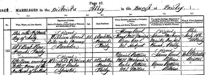 Marriage entry for William Arrol - 1864