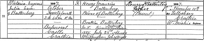 Birth entry for Ena, princess of Battenberg