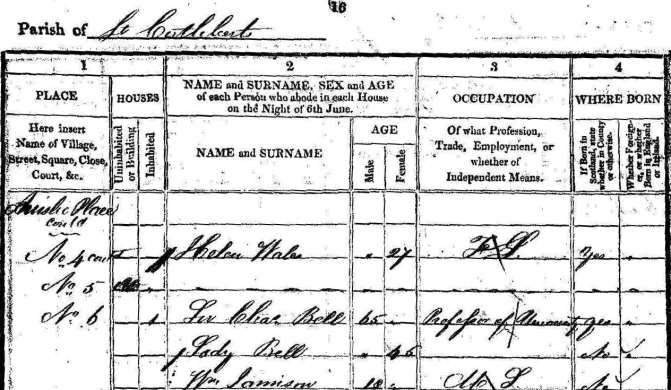 1841 census entry for Charles Bell