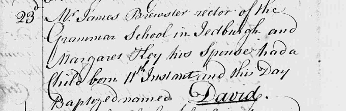 Baptism entry for David Brewster