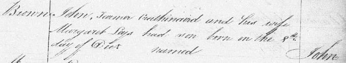 Birth entry for John Brown