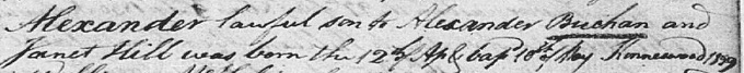 Old Parish Register birth and baptism entry for Alexander Buchan