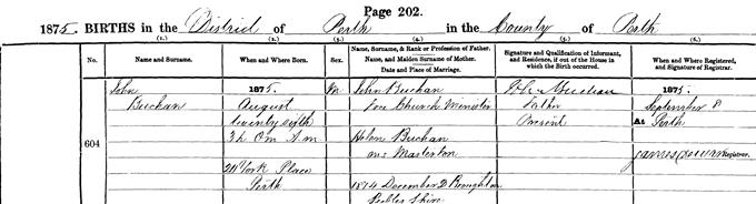Birth entry for John Buchan