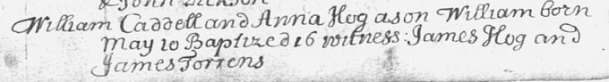 Birth and baptism entry for William Cadell