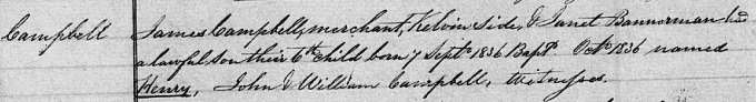Birth and baptism entry for Henry Campbell-Bannerman
