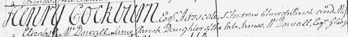 Marriage entry for Henry Cockburn