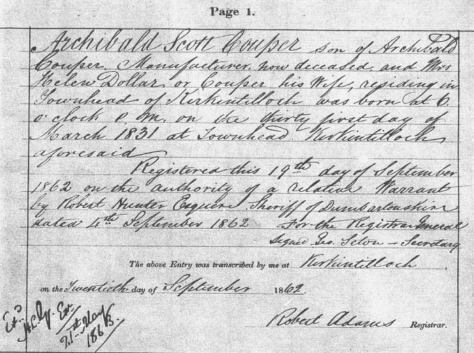 Birth entry for Archibald Scott Couper
