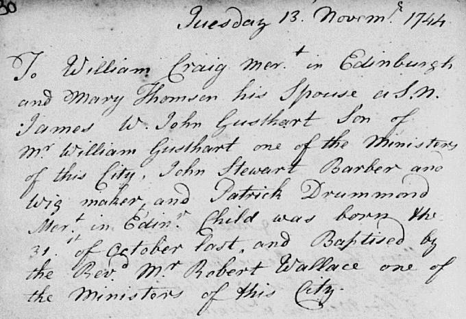 Birth and baptism entry for James Craig