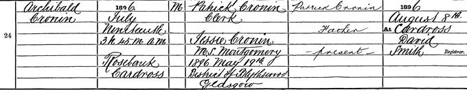 Birth entry for A J Cronin