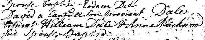 Baptism entry for David Dale