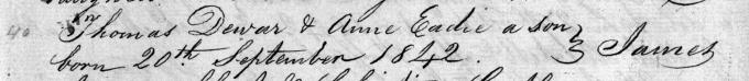 Baptism entry for James Dewar