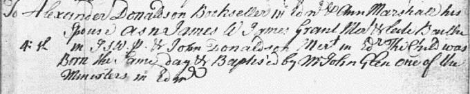 Birth and baptism entry for James Donaldson