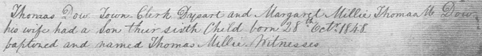 Birth and baptism entry for Thomas Millie Dow