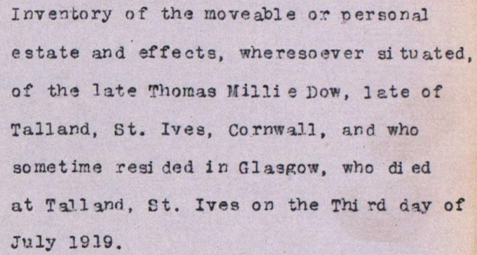 Detail from inventory of Thomas Millie Dow