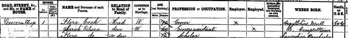1891 census return for Flora Drummond
