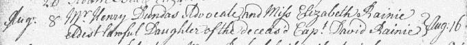Marriage entry for Henry Dundas - Lasswade