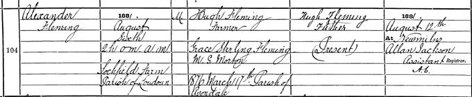 Birth entry for Alexander Fleming