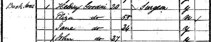 1841 census return for Harry Goodsir