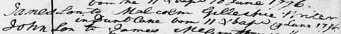 Birth entry for James Gillespie [Graham]