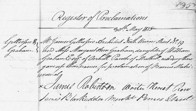 Marriage entry for James Gillespie [Graham], 1815