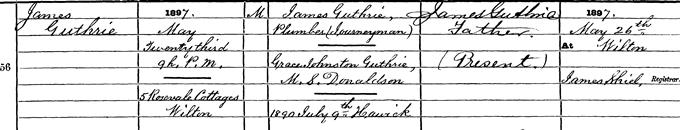Birth entry for Jimmie Guthrie