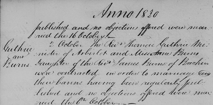 Marriage entry for Thomas Guthrie - Brechin