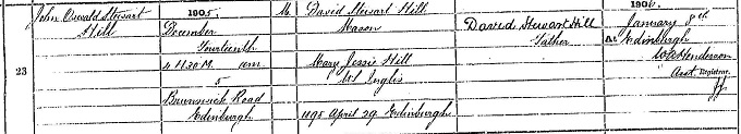 Birth entry for Johnny Hill