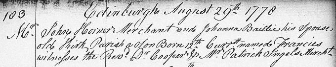 Birth and baptism entry for Francis Horner
