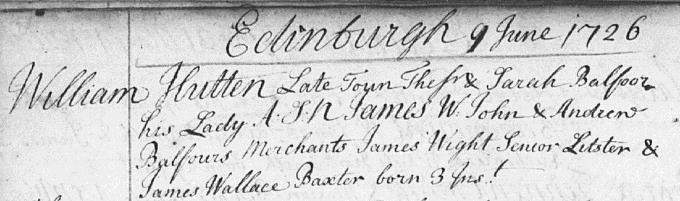 Birth and baptism entry for James Hutton