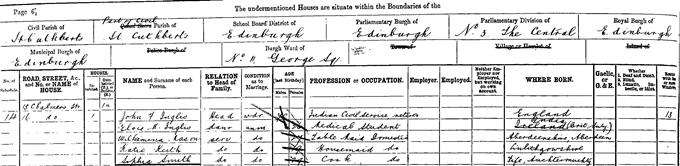 1891 census entry for Elsie Inglis