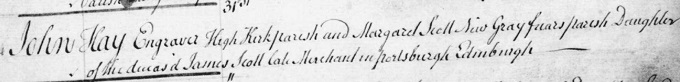 Marriage entry for John Kay 1787