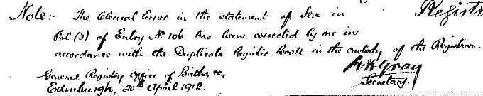 Note of correction to Harry Lauder's birth entry