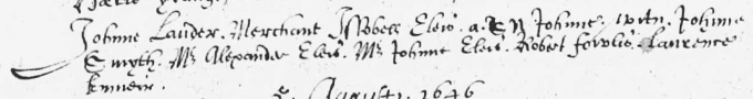 Baptism entry for Sir John Lauder of Fountainhall