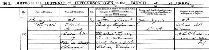 Birth entry for Benny Lynch