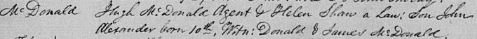 Birth and baptism entry for John Alexander Macdonald