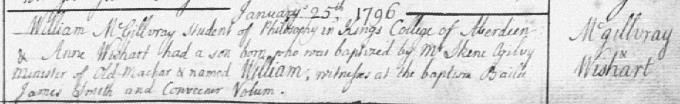 Baptism entry for William MacGillivray