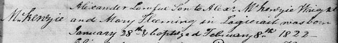 Birth and baptism entry for Alexander Mackenzie