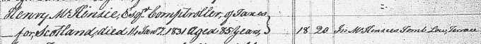 Death and burial entry for Henry Mackenzie
