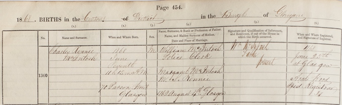 Birth record for Charles Rennie Mackintosh