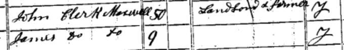 1841 census entry for James Clerk Maxwell